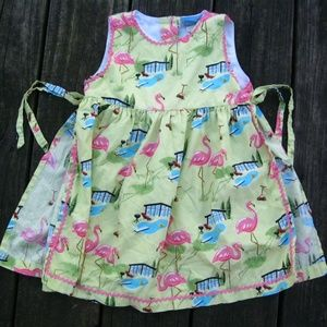 VTG Nick Nora Pink Flamingo Print Apron Dress 24 M